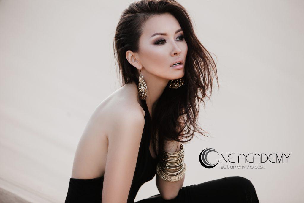 One Academy Woman Model in Black Dress